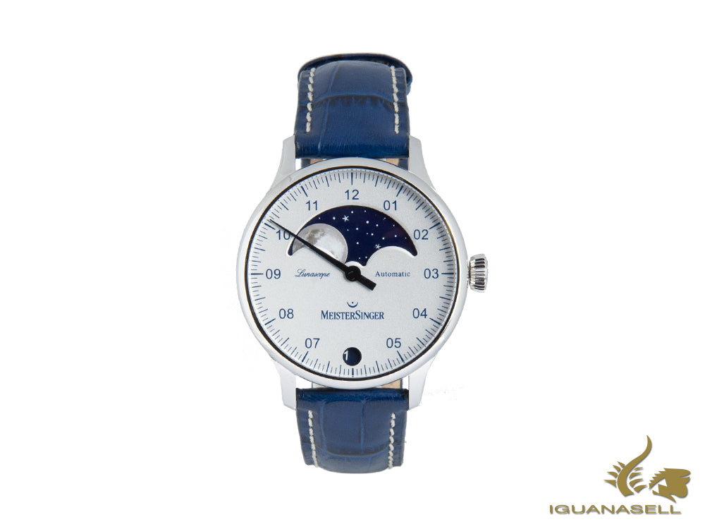 Meistersinger Lunascope Opaline Silver Automatic Watch, 40 mm, Day, LS901-SG04