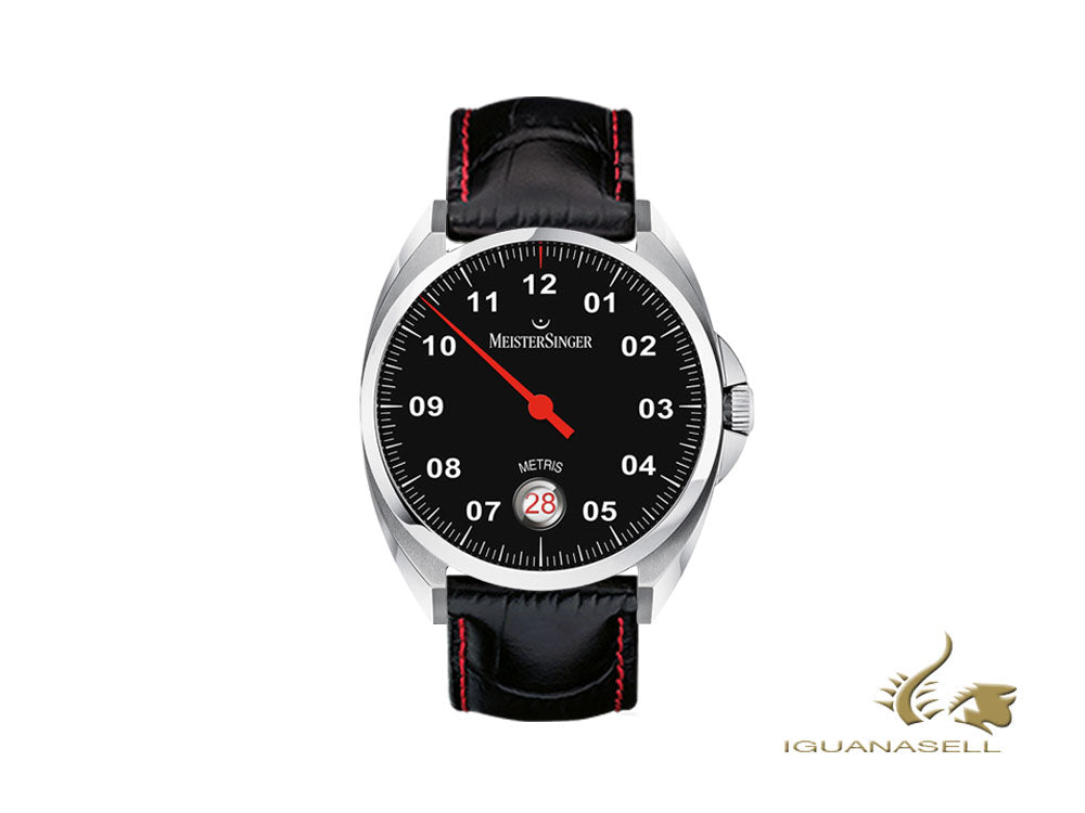 Meistersinger Metris Black Automatic Watch, 38mm, Leather strap, ME902-SG01R
