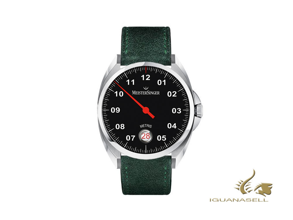 Meistersinger Metris Black Automatic Watch, 38mm, Leather strap, ME902-SV17