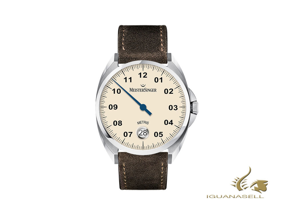 Meistersinger Metris Ivory Automatic Watch, 38mm, Leather strap, ME903-SV02