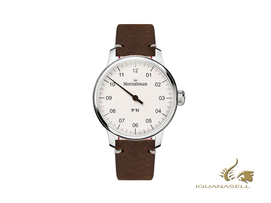 Meistersinger N1 - 40 mm Manual Watch, Silver, 40 mm, Leather, DM301-SVSL02