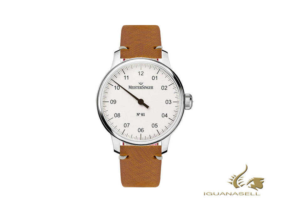 Meistersinger N1 - 40 mm Manual Watch, Silver, 40 mm, Leather, DM301-SVSL03