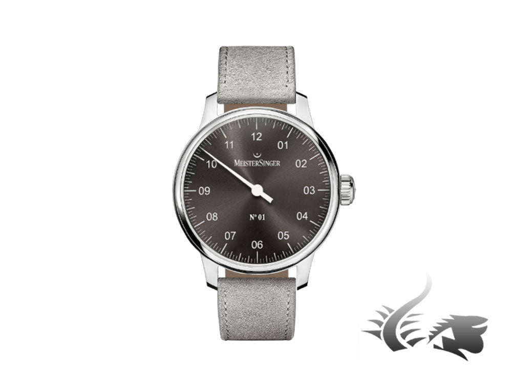 Meistersinger N1 Watch, ETA 2801-2, Sunburst Anthracite, Leather, AM3307-SV06