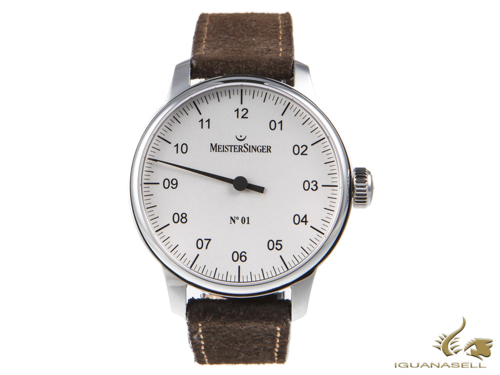Meistersinger N1 Watch, Manual winding, ETA 2801-2, 43m, Leather, AM3301-SV02