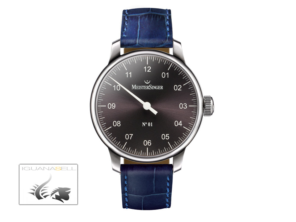 Meistersinger N1 Watch, Manual winding, ETA 2801-2, 43mm. Anthracite, AM3307