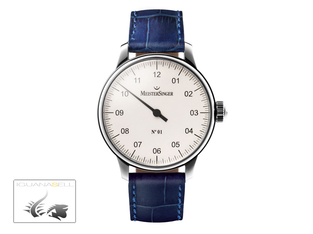 Meistersinger N1 Watch, Manual winding, ETA 2801-2, 43mm. Blue Leather strap