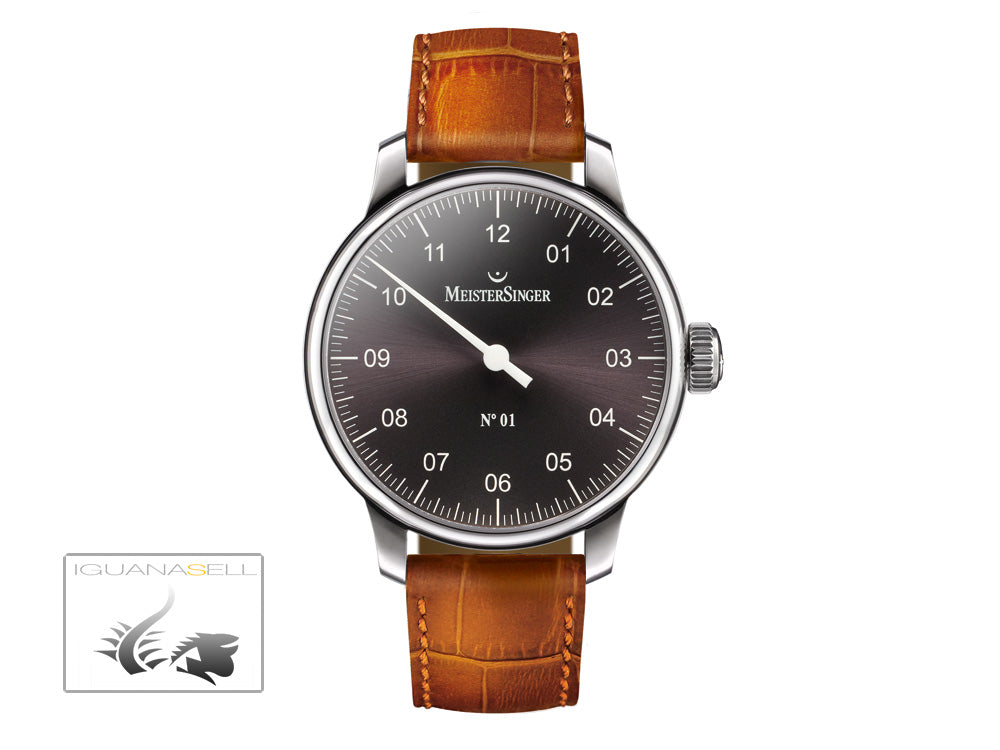 Meistersinger N1 Watch, Manual winding, ETA 2801-2, 43mm. Brown Leather, AM3307