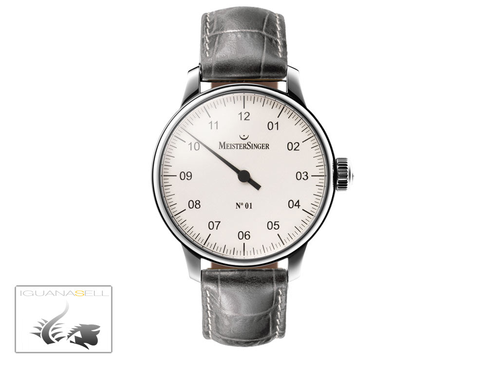Meistersinger N1 Watch, Manual winding, ETA 2801-2, 43mm. Grey  Leather strap