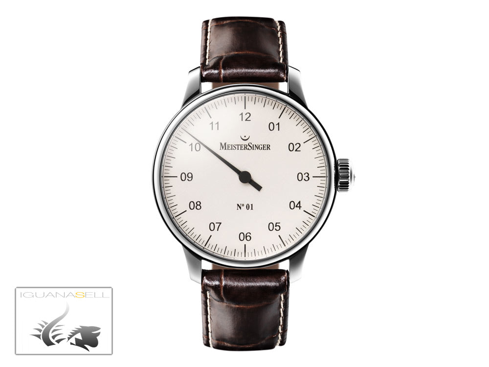 Meistersinger N1 Watch, Manual winding, ETA 2801-2, 43mm. Leather strap, AM3301
