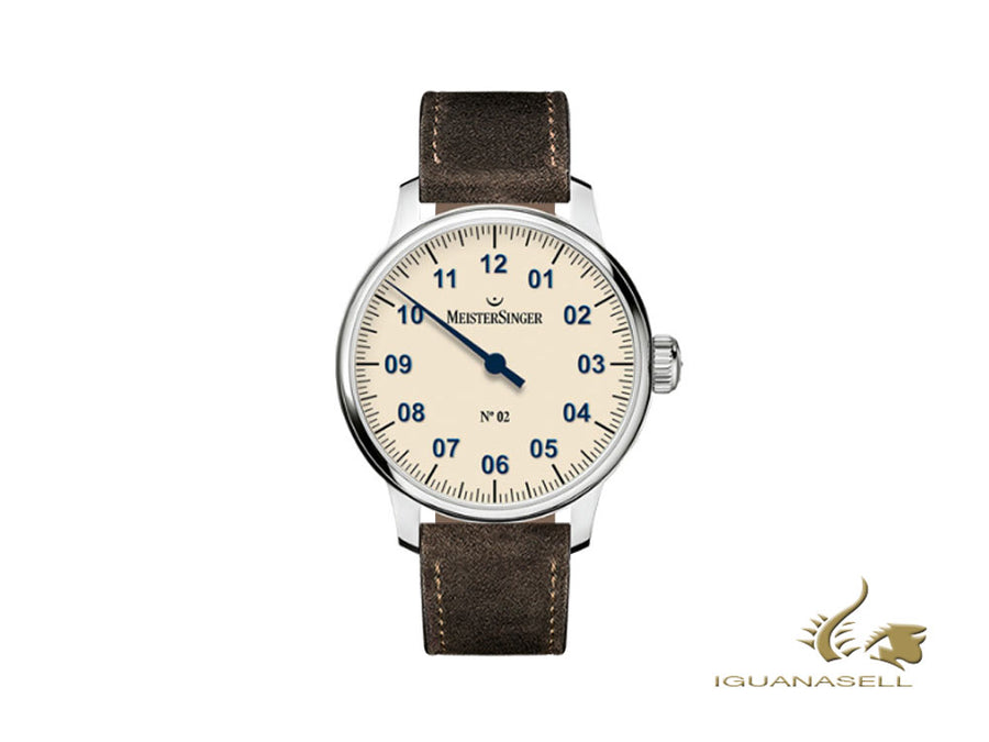 Meistersinger N2 Watch, Manual winding, Unitas 6498-1, 43mm, Brown Leather strap