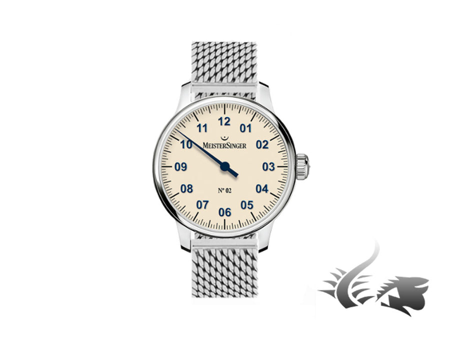 Meistersinger N2 Watch, Manual winding, Unitas 6498-1, 43mm, Mesh strap