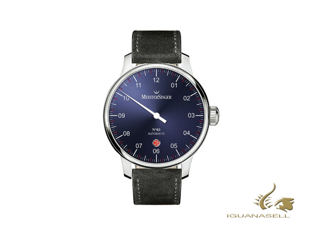 Meistersinger N3 - 40 mm Automatic Watch, Blue, 40mm, Black, Day, DM908-SV01