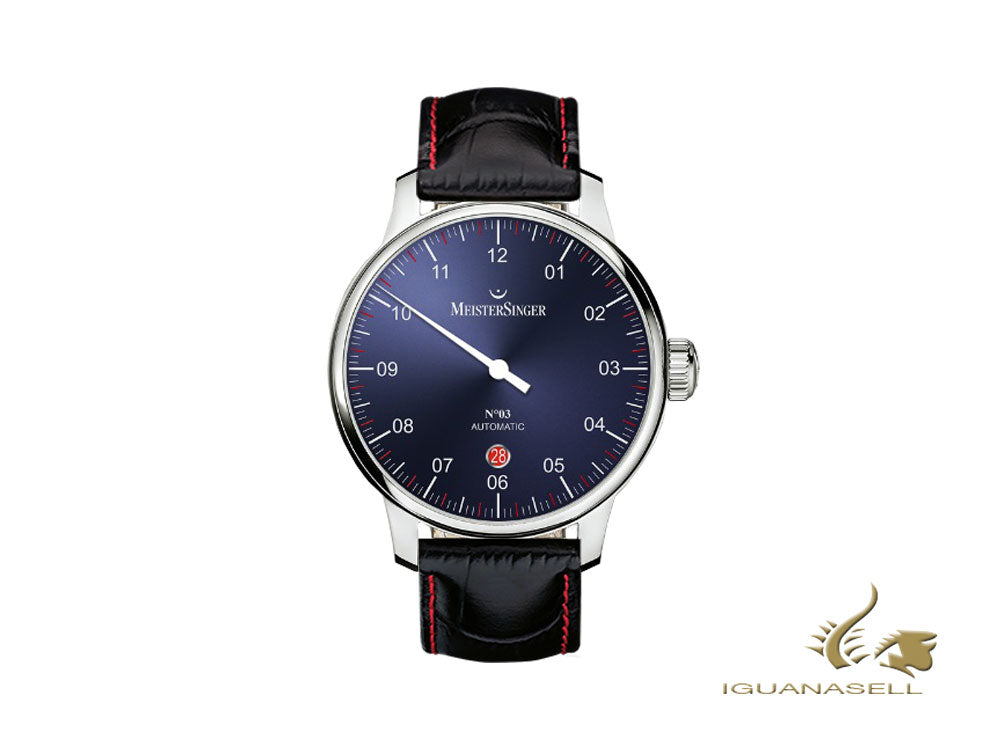 Meistersinger N3 - 40 mm Automatic Watch, Blue, 40mm, Black/Red, DM908-SG01R
