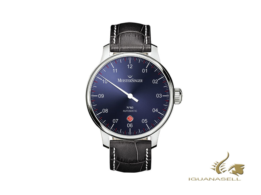 Meistersinger N3 - 40 mm Automatic Watch, Blue, 40mm, Black/White, DM908-SG01W