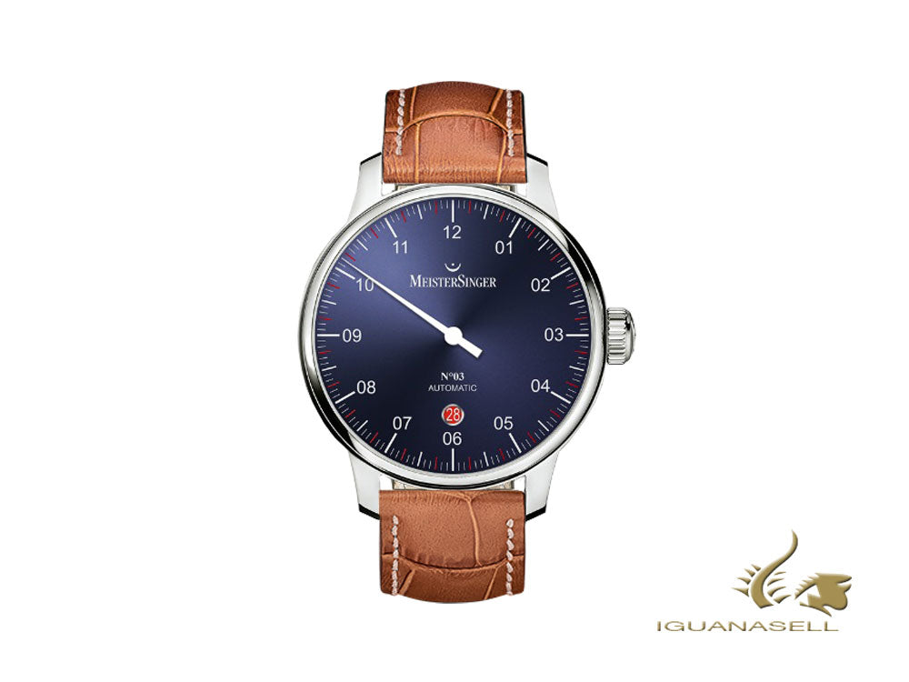 Meistersinger N3 - 40 mm Automatic Watch, Blue, 40mm, Cognac, Day, DM908-SG03