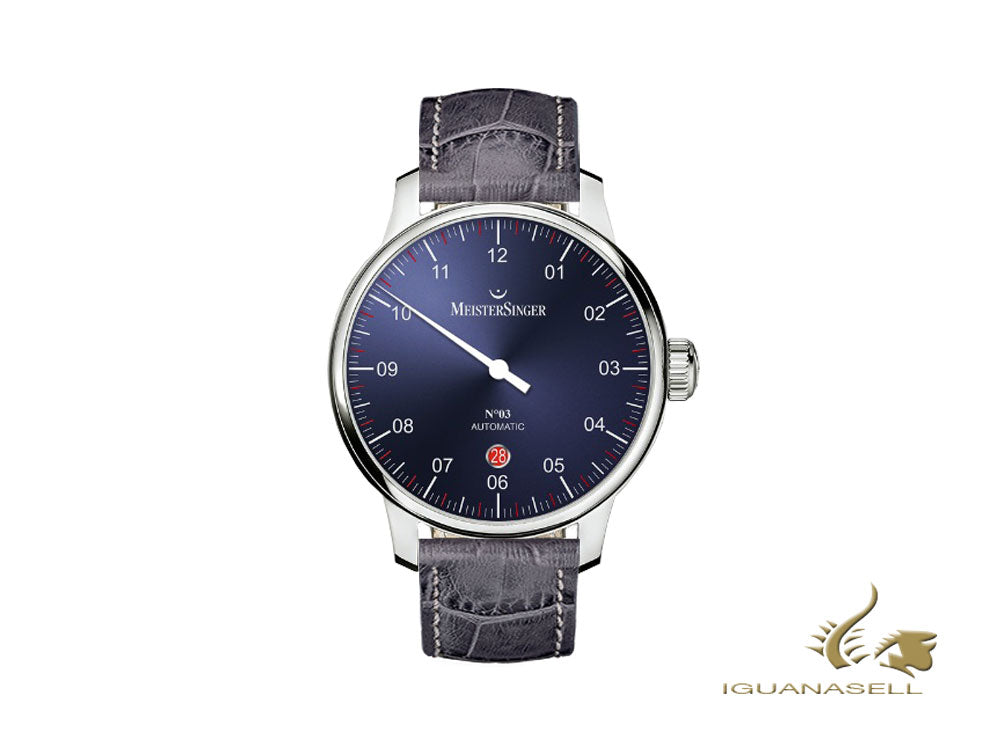 Meistersinger N3 - 40 mm Automatic Watch, Blue, 40mm, grey, Day, DM908-SG06