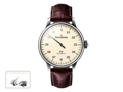 Meistersinger N3 Automatic Watch, ETA 2824-2, 43mm. Brown Leather strap, AM903