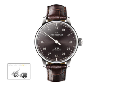 Meistersinger N3 Automatic Watch, ETA 2824-2, 43mm. Brown Leather strap, AM907