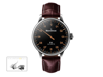 Meistersinger N3 Automatic Watch, ETA 2824-2, 43mm. Leather strap, AM904-SG02W