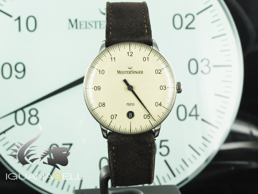 Meistersinger Neo Automatic Watch, ETA 2824-2, 36mm. Leather strap, NE903N-SV12