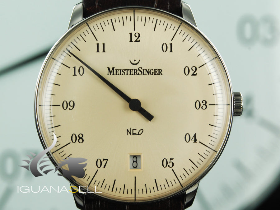 Meistersinger Neo Automatic Watch, Stainless steel, ETA 2824-2, Ivory, NE903