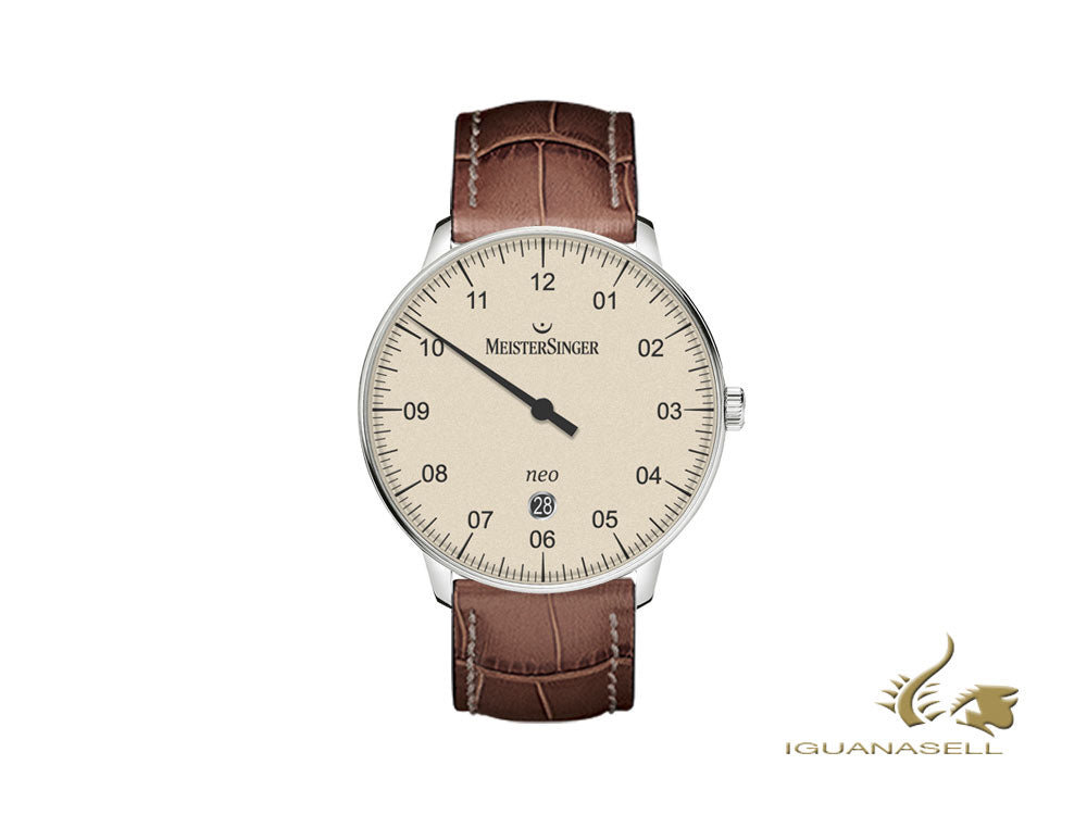 Meistersinger Neo Plus Automatic Watch, ETA 2824-2, 40mm, Ivory, brown, Day