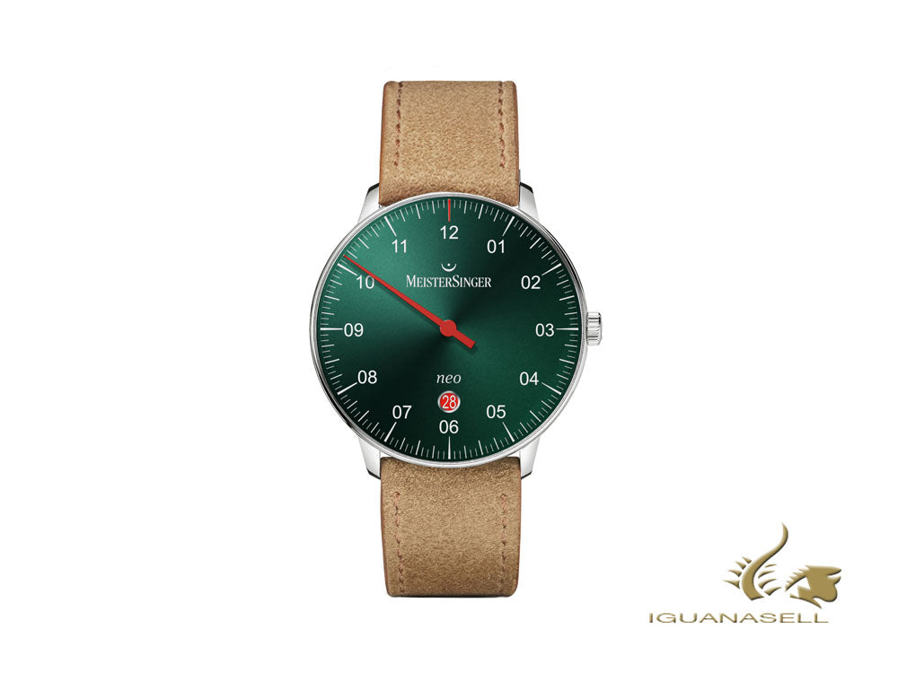 Meistersinger Neo Plus Automatic Watch, ETA 2824-2, 40 mm, Green/Cognac, Day