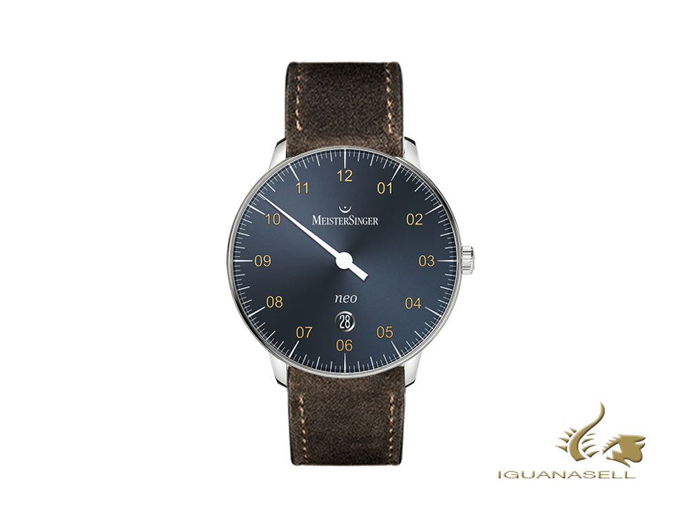 Meistersinger Neo Plus Automatic Watch, ETA 2824-2, 40mm, Blue, Day, NE417G-SV02