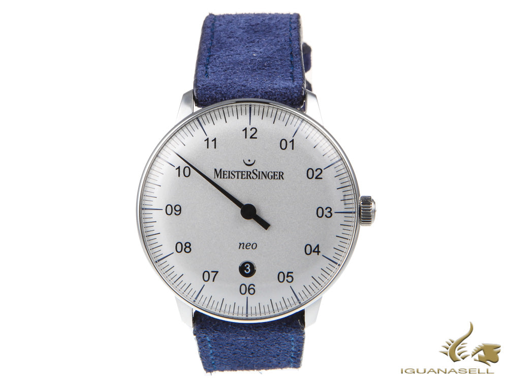 Meistersinger Neo Plus Opaline - Silver Automatic Watch, 40mm, Silver, Blue