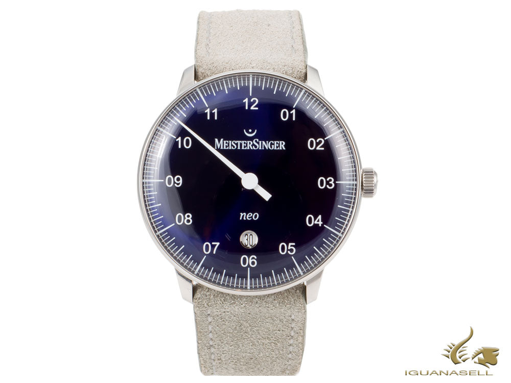 Meistersinger Neo Plus Sunburst Blue Automatic Watch, ETA 2824-2, 40mm, grey