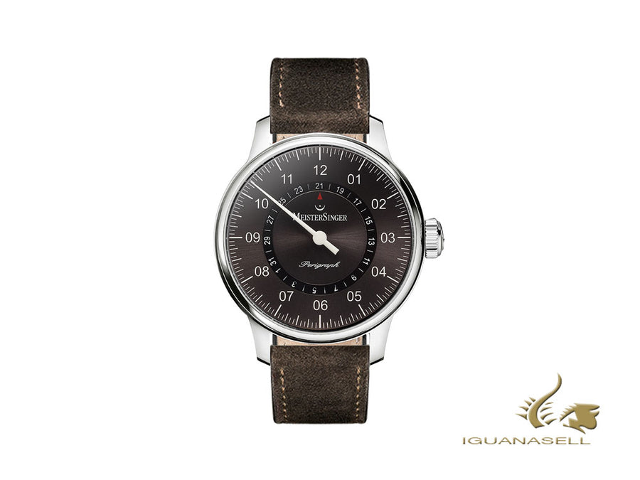 Meistersinger Perigraph Automatic Watch, 43mm, Leather strap, AM1007-SV02 Meistersinger Automatic Watch