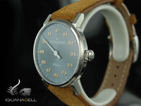 Meistersinger Phanero Watch, Manual winding, Grey, 35mm, Leather strap