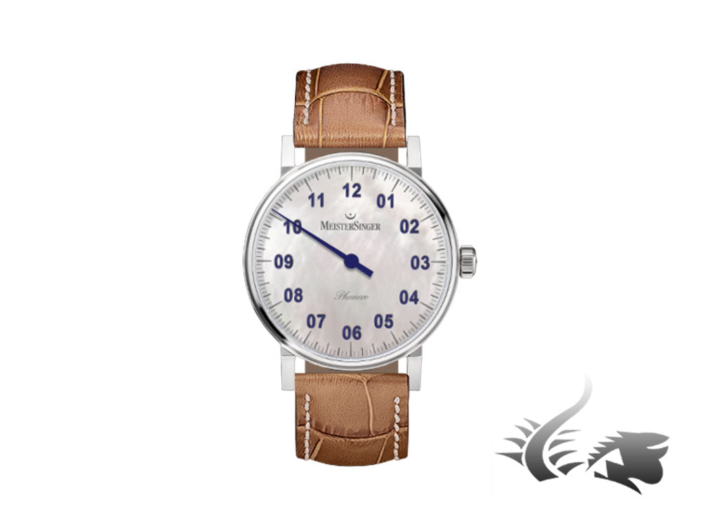 Meistersinger Phanero Watch, Manual winding, Mother of pearl, Leather strap