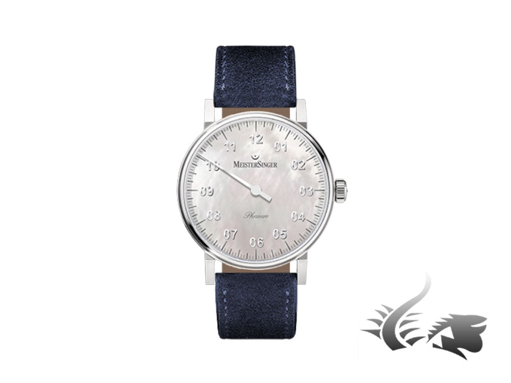 Meistersinger Phanero Watch, Manual winding, SW 210, Mother of pearl, 35mm