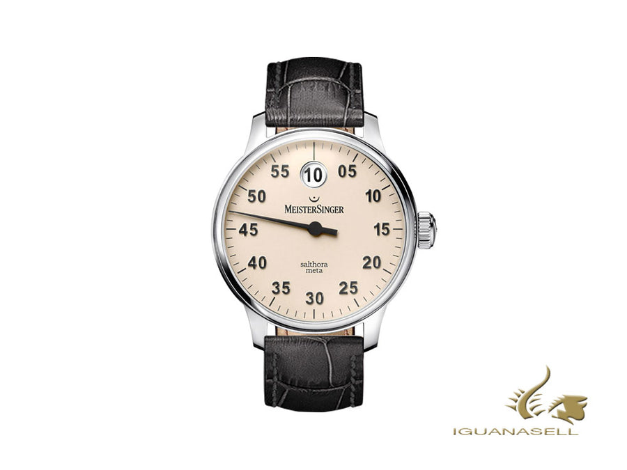 Meistersinger Salthora Meta Automatic Watch, Ivory, 43mm, Black, SAM903-SG01