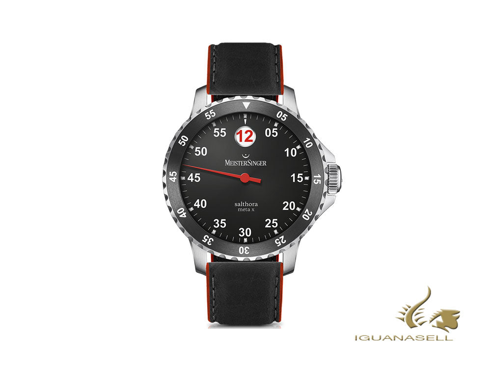 Meistersinger Salthora Meta X Automatic Watch, Black/Red, 43mm, 20 atm, SAMX902