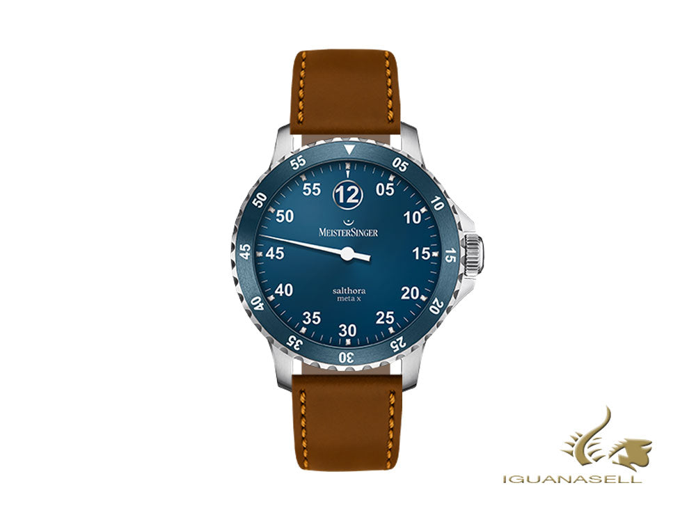 Meistersinger Salthora Meta X Automatic Watch, Blue/Cognac, Shell cordovan