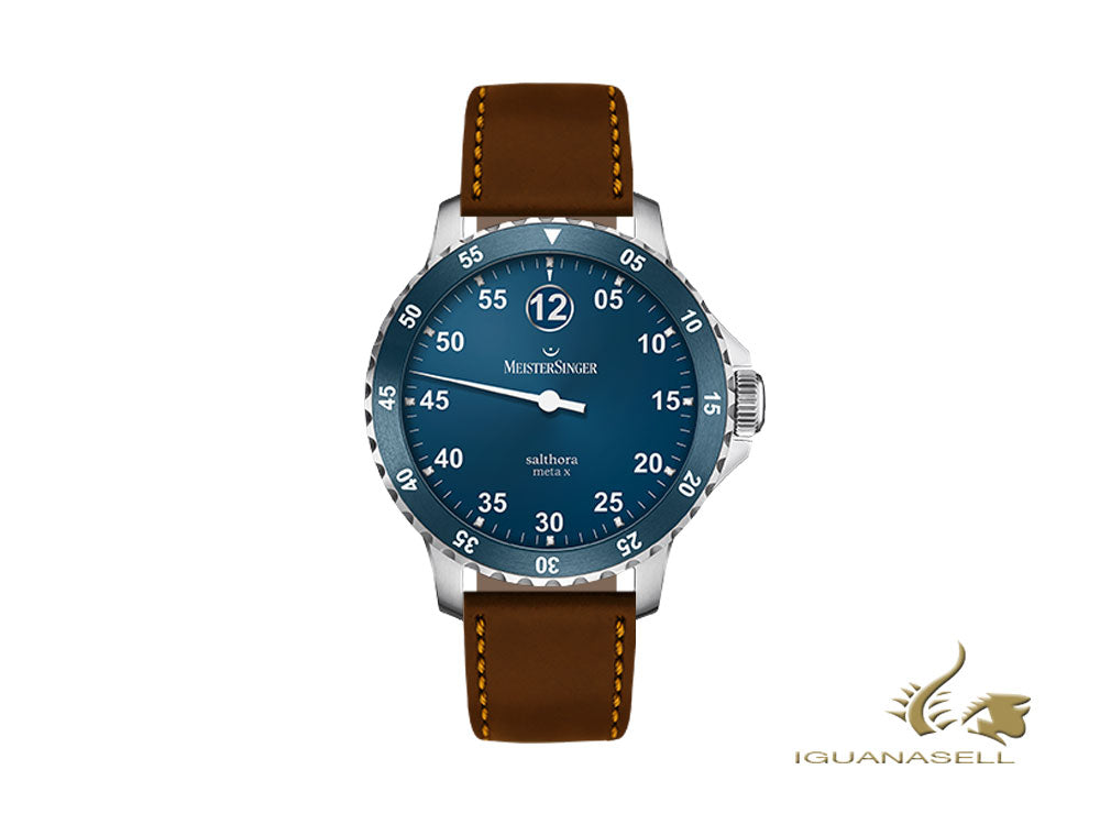 Meistersinger Salthora Meta X Automatic Watch, Blue/brown, Shell cordovan
