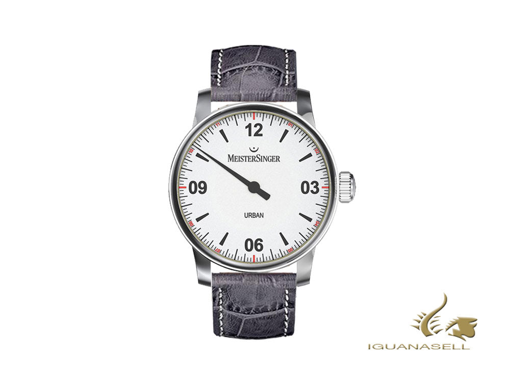 Meistersinger Urban Automatic Watch,, 40 mm, Silver, Leather, UR901-SG06W