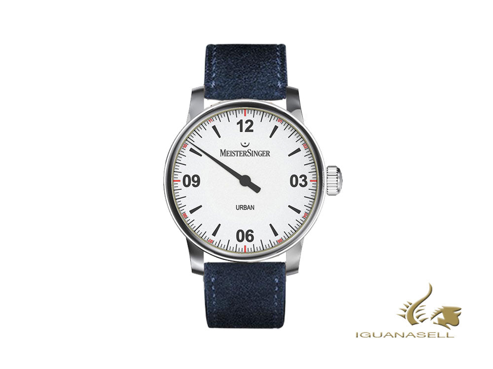 Meistersinger Urban Automatic Watch, 40 mm, Silver, Leather, UR901-SV04