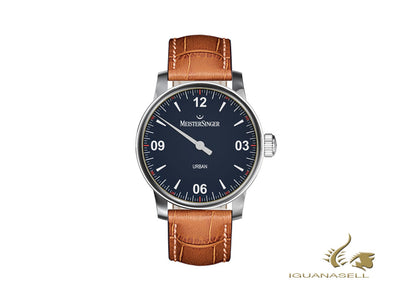 Meistersinger Urban Blue Automatic Watch, Miyota 8245, 40mm, Cognac, UR908-SG03