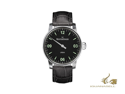 Meistersinger Urban Black Automatic Watch, 40mm, Leather, UR902-SG01
