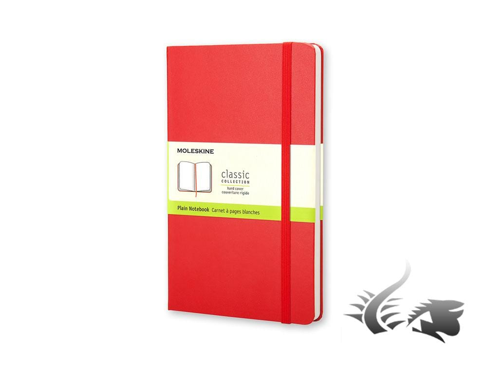Moleskine Classic Hard cover Notebook, Large (13 x 21 cm), Plain, Red, 240 pages Notebook