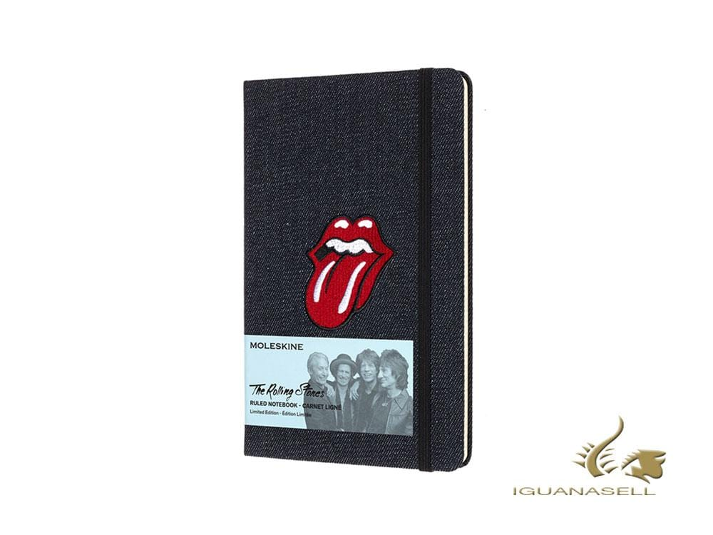 Moleskine Rolling Stones Limited Edition Notebook, Large, Ruled, Blue, Denim Notebook