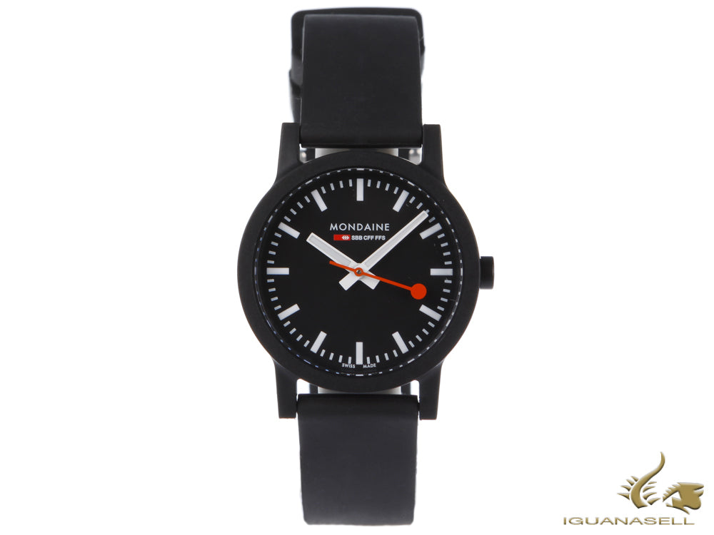 Mondaine Essence Quartz Watch, Ecological - Recycled, Black, 32mm, MS1.32120.RB