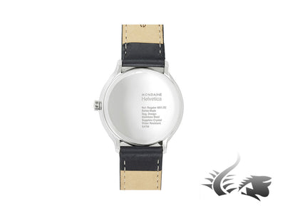 Mondaine Helvetica No1 Regular Quartz watch, polished stainless , Black, 40mm