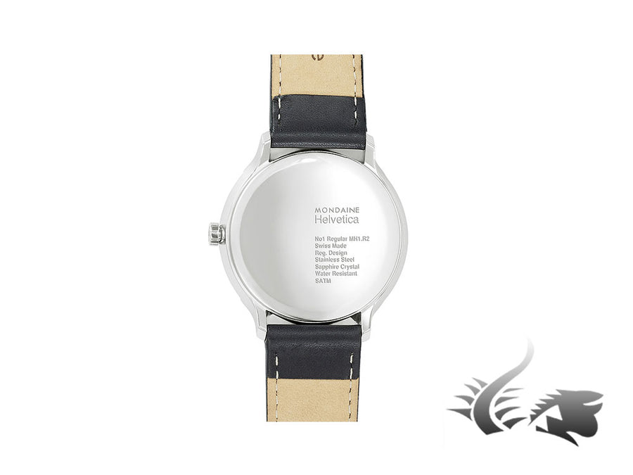 Mondaine Helvetica No1 Regular Quartz watch, polished stainless , Black, 40mm Mondaine Quartz Watch