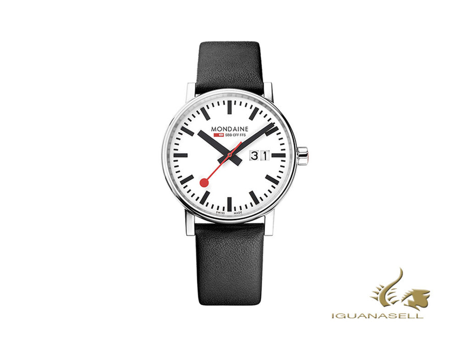 Mondaine SBB Evo2 Big Quartz Watch, White, 40 mm, Day, Leather, MSE.40210.LB Mondaine Quartz Watch