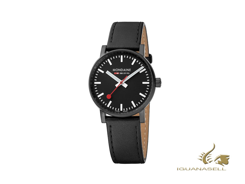 Mondaine SBB Evo2 Quartz Watch, PVD, Black, 35 mm, Leather strap, MSE.35121.LB