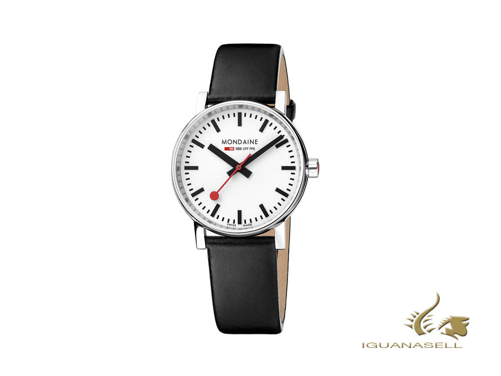 Mondaine SBB Evo2 Quartz Watch, White, 35 mm, Leather strap, MSE.35110.LB